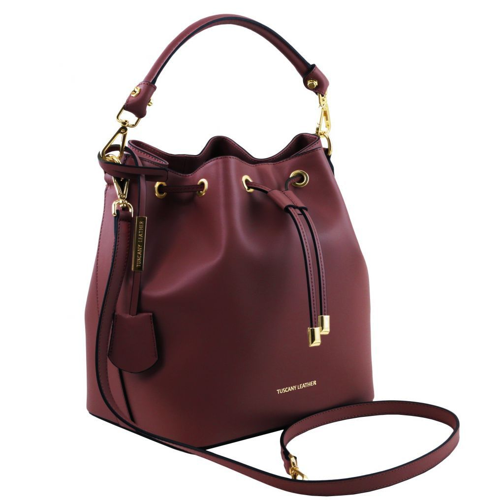 Vittoria Smooth Leather Bucket Bag_25