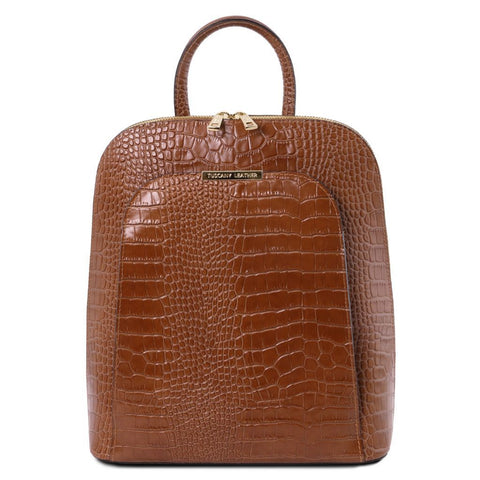 TL Croc-Embossed backpack for women 1