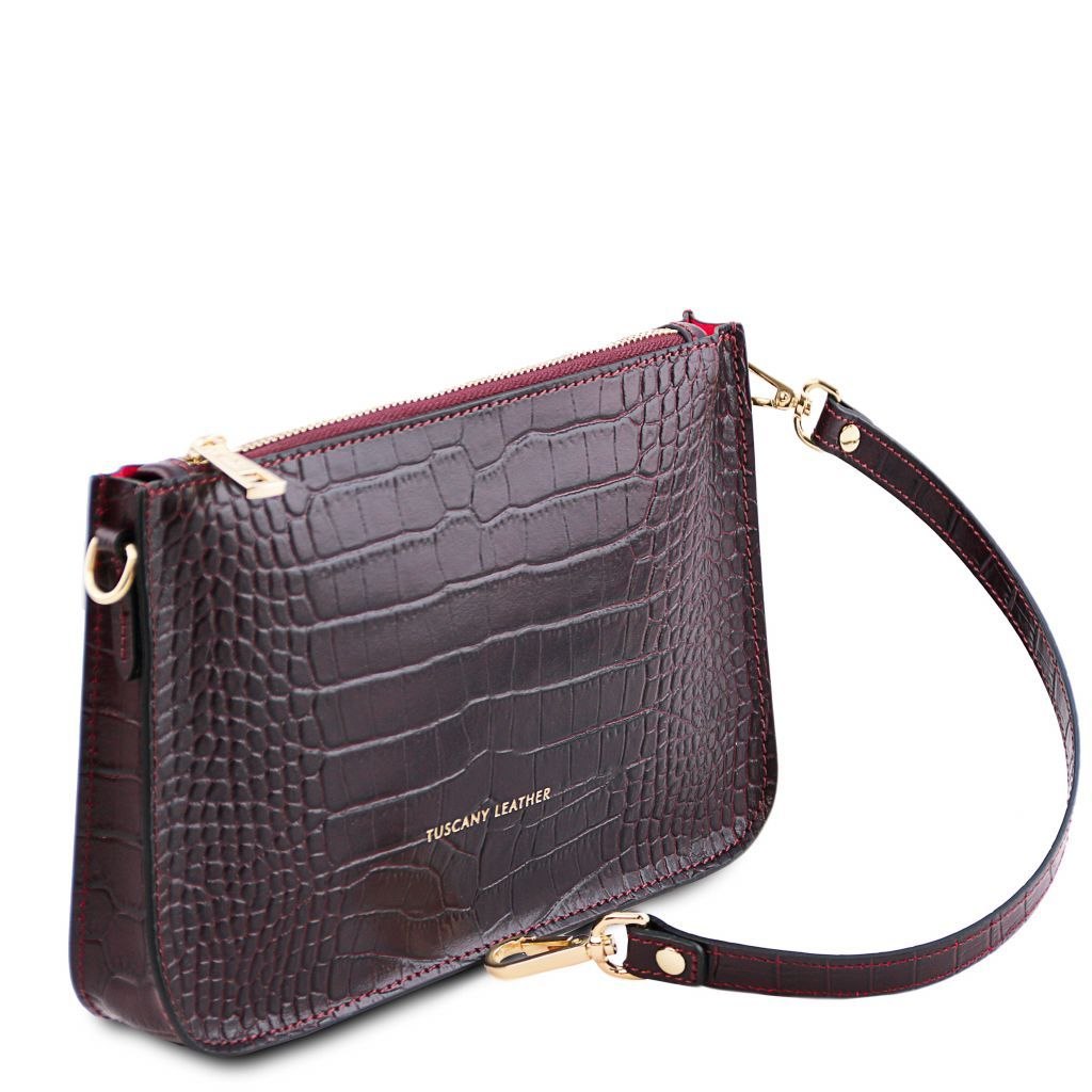 Cassandra Croc-Embossed Clutch Handbag_5