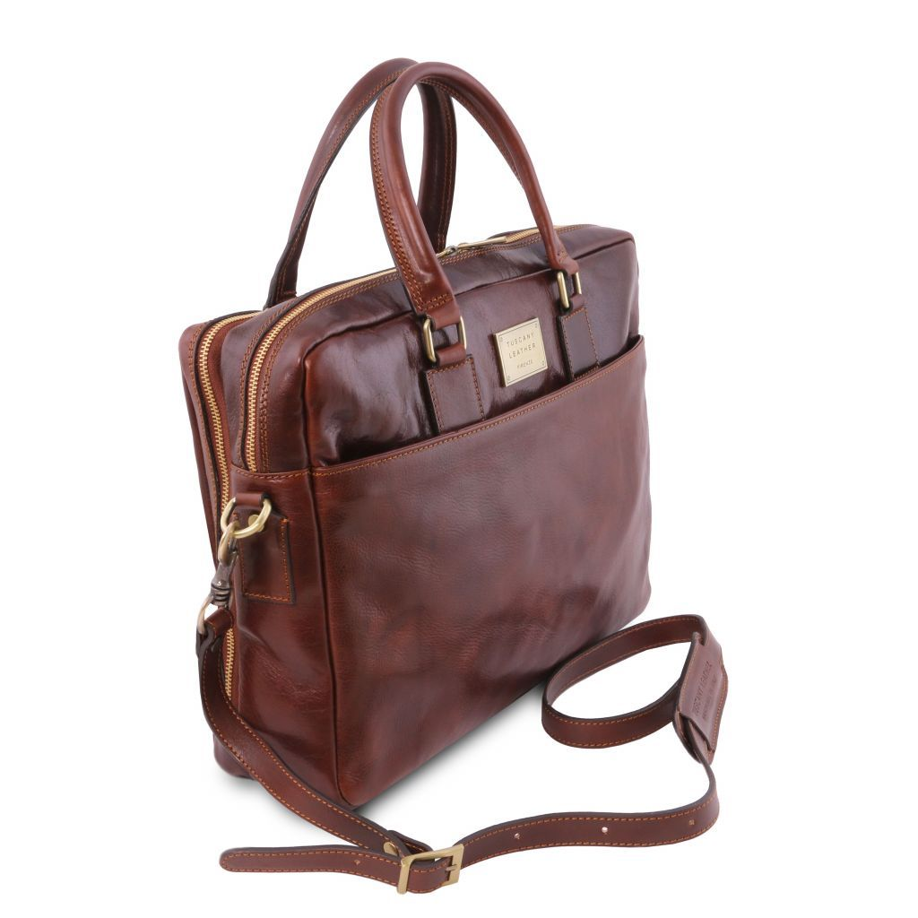 Urbino Vegetable Tanned Leather laptop briefcase_33