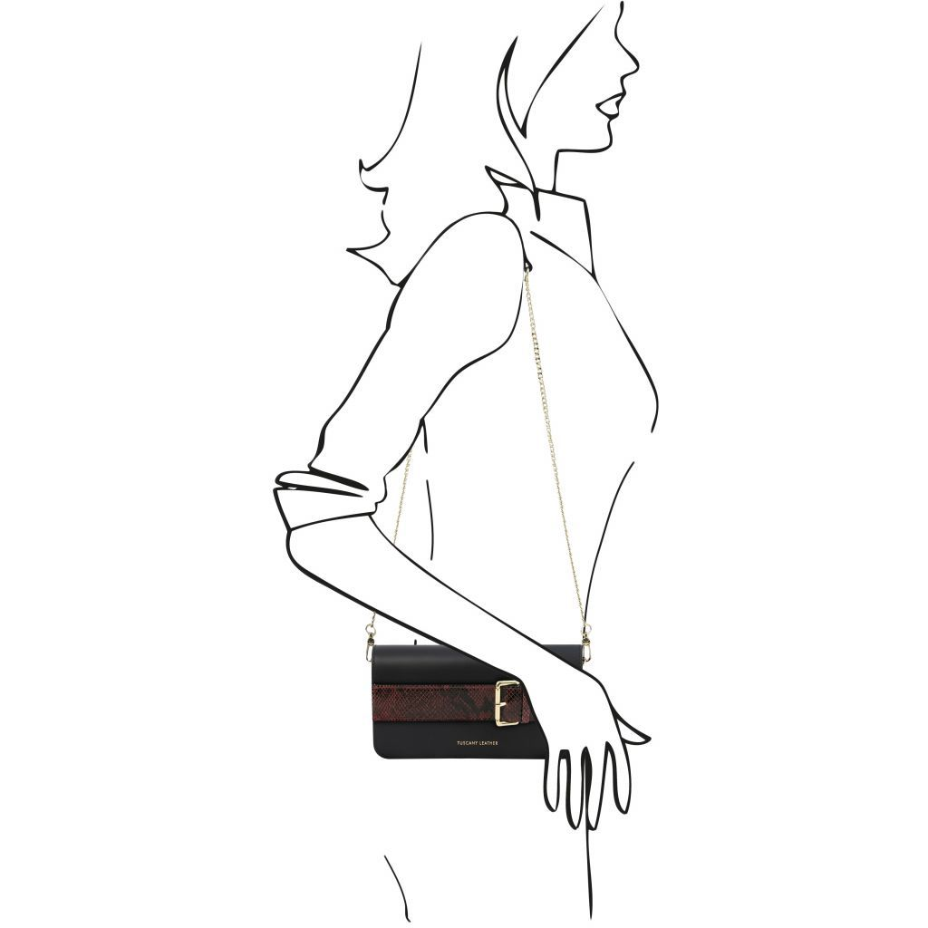 Demetra Leather Clutch with chain strapÊ_8