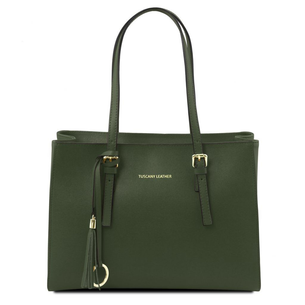 TL Saffiano Leather Work Tote Handbag