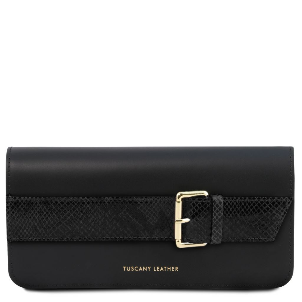 Demetra Leather Clutch with chain strapÊ_3