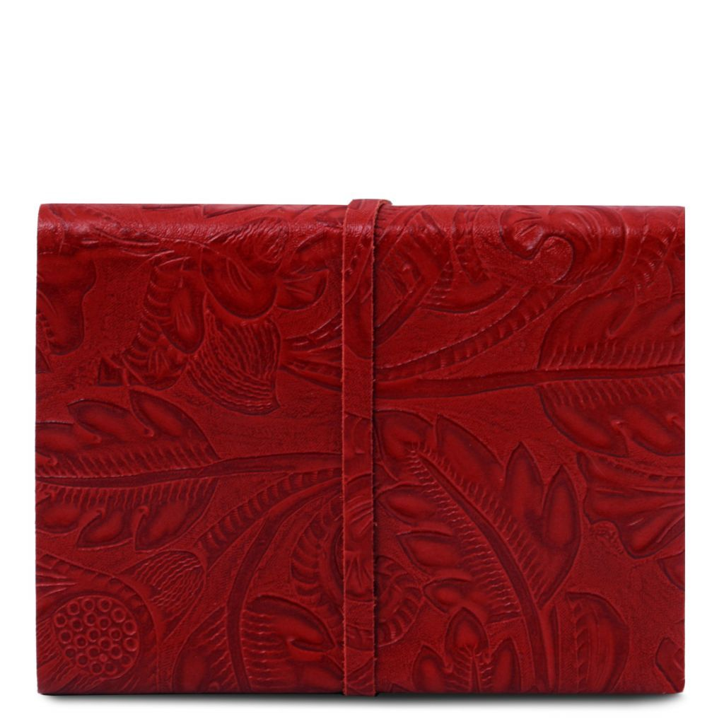 Embossed Leather travel diary with floral pattern_29