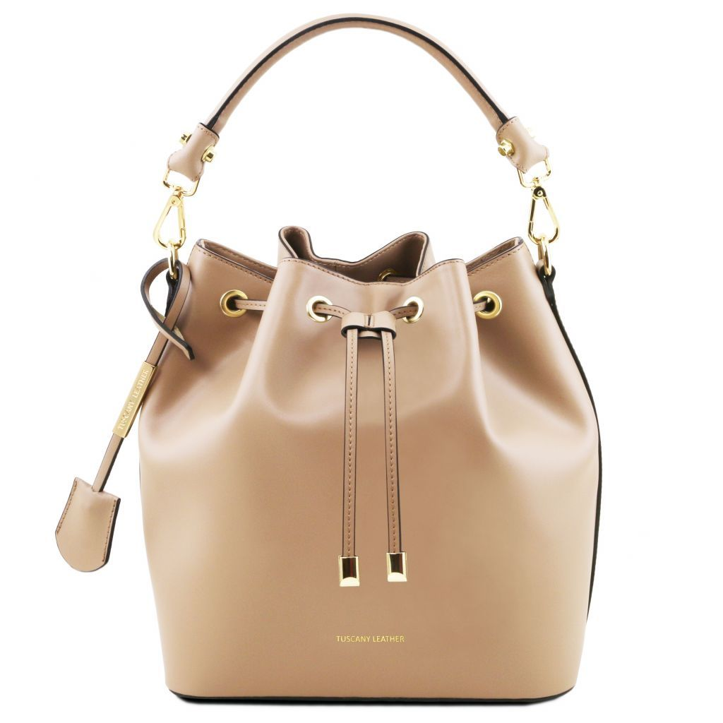 Vittoria Smooth Leather Bucket Bag_18