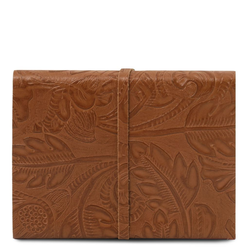 Embossed Leather travel diary with floral pattern_14