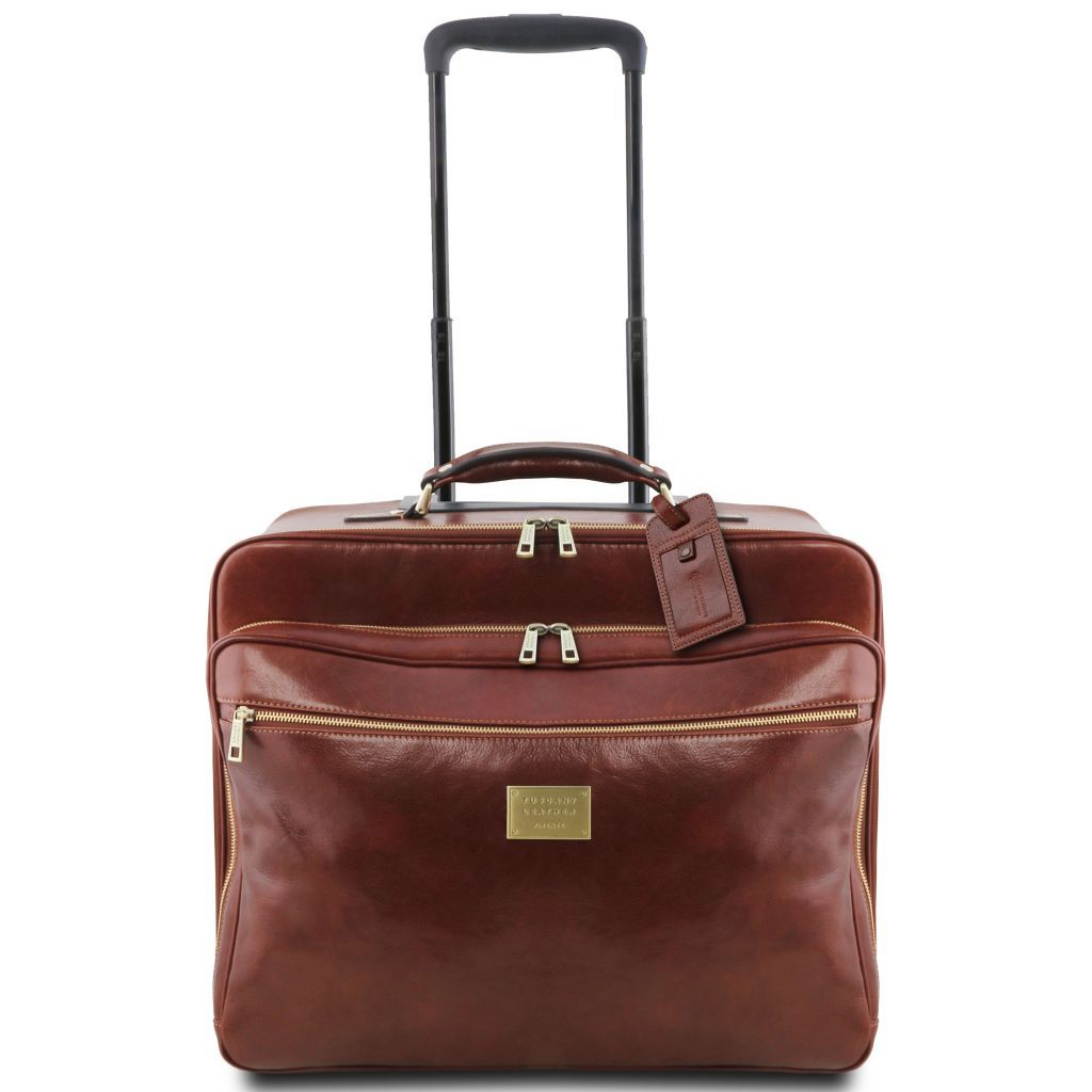 Varsavia vegetablle tanned leather pilot case with two wheels_24
