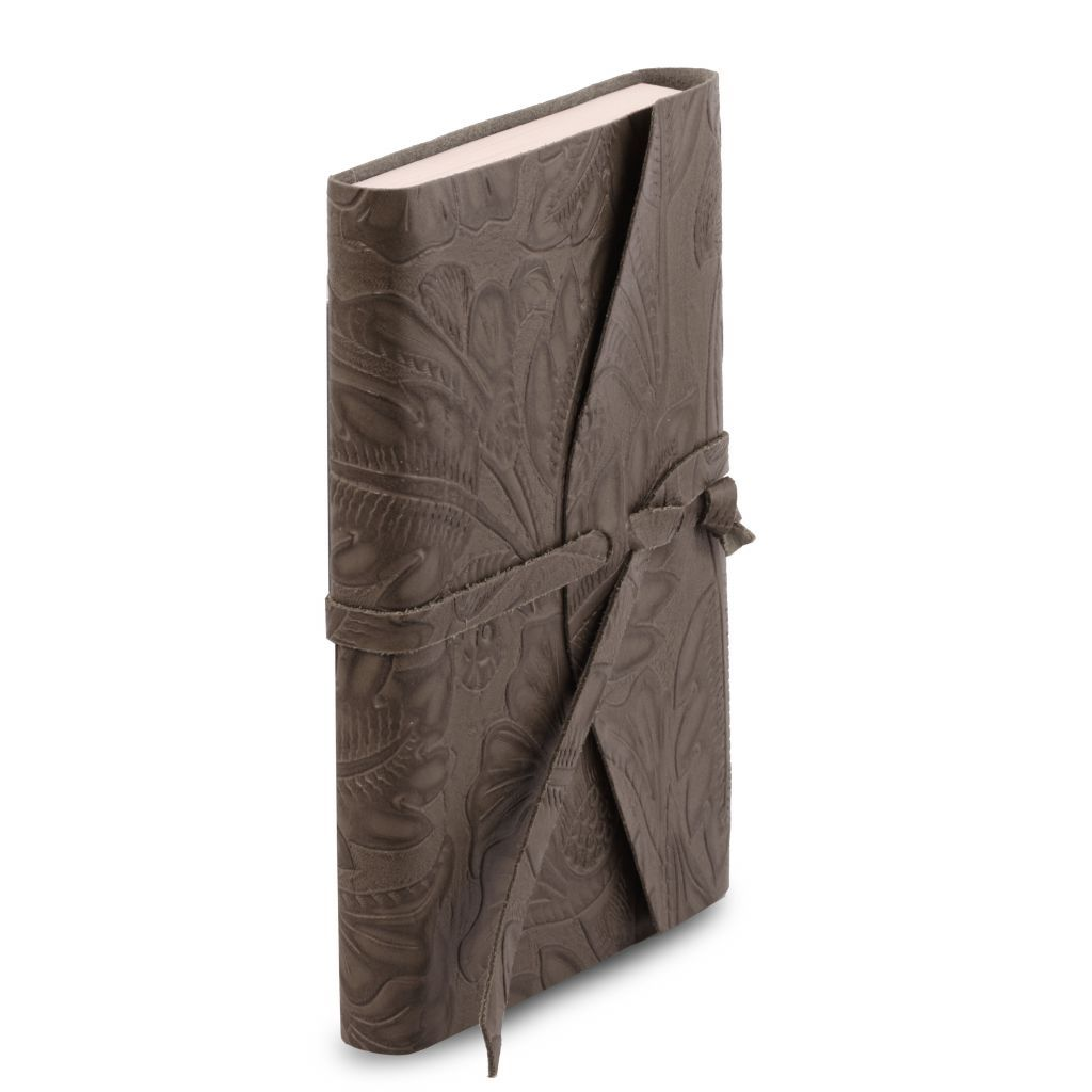 Embossed Leather travel diary with floral pattern_33