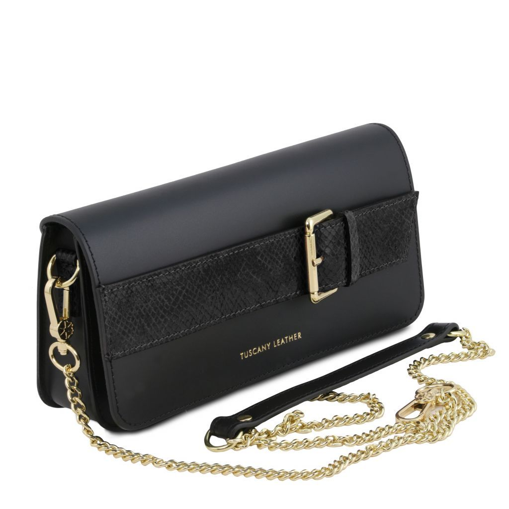 Demetra Leather Clutch with chain strapÊ_13