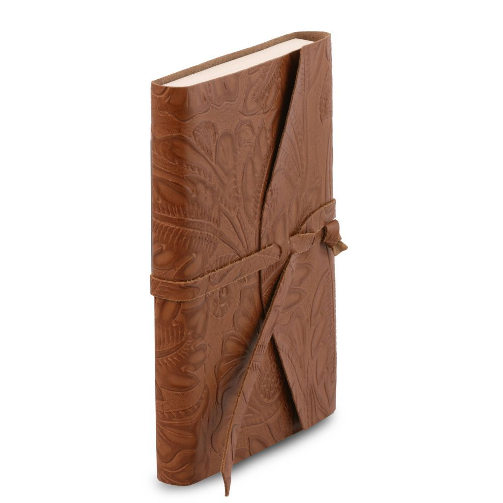 Embossed Leather travel diary with floral pattern_13