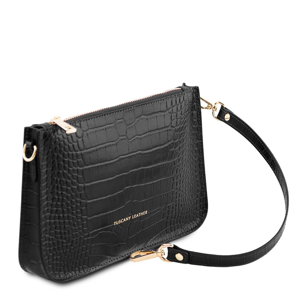 Cassandra Croc-Embossed Clutch Handbag_7