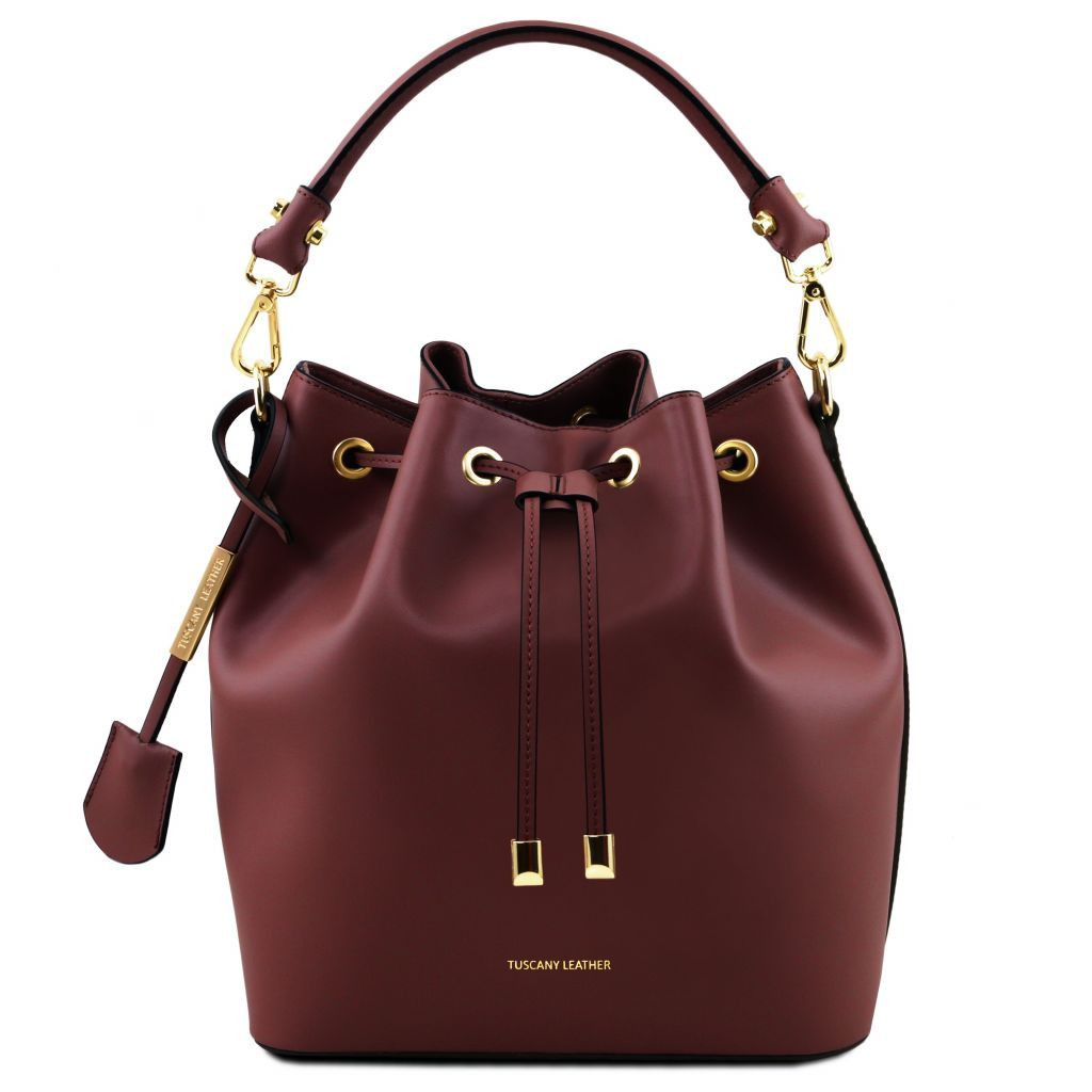 Vittoria Smooth Leather Bucket Bag_24