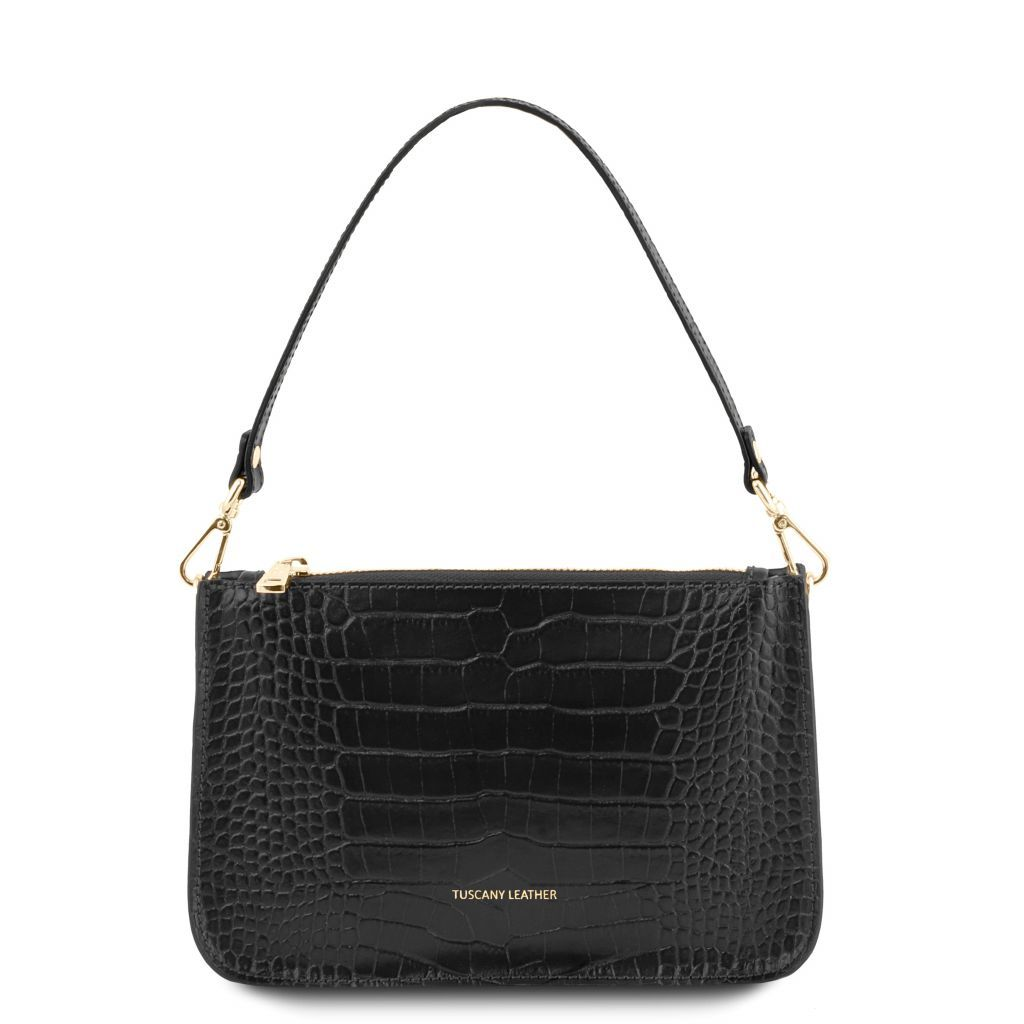 Cassandra Croc-Embossed Clutch Handbag_2