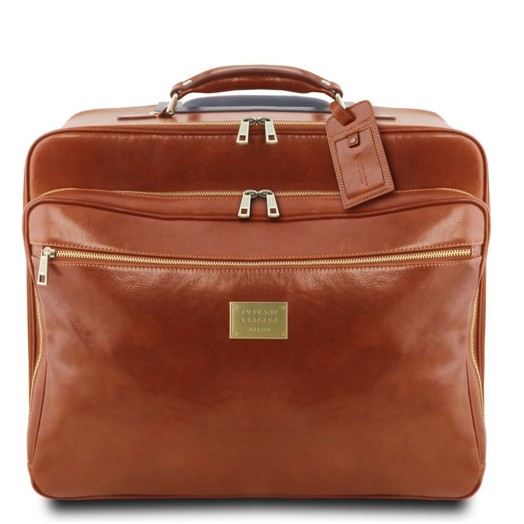 Varsavia vegetablle tanned leather pilot case with two wheels_3