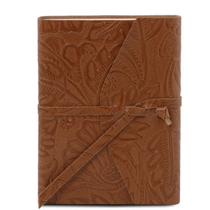 Embossed Leather travel diary with floral pattern_2