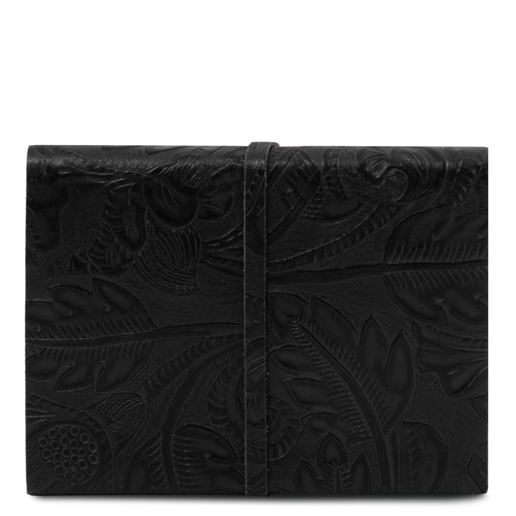 Embossed Leather travel diary with floral pattern_24