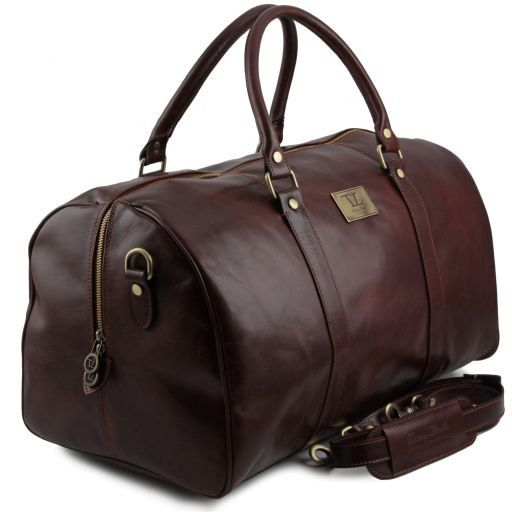 TL Voyager - Travel leather duffle bag with pocket on the backside - Large size_7