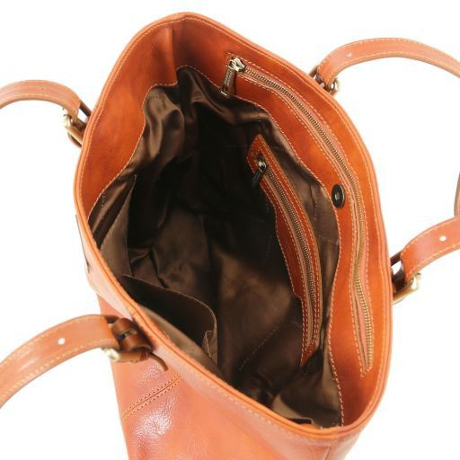Annalisa Vegetable Tanned Leather Shopping Tote Bag_9