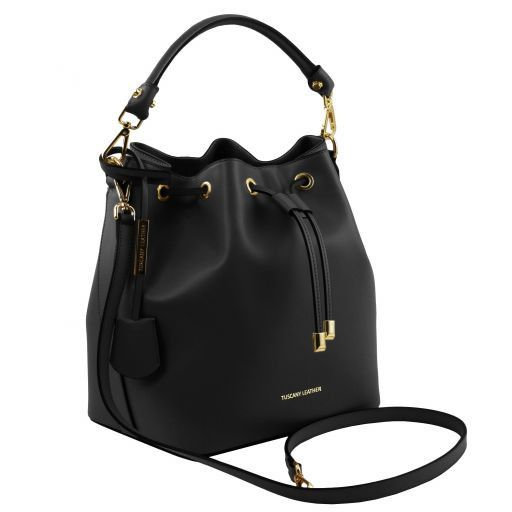 Vittoria Smooth Leather Bucket Bag_14