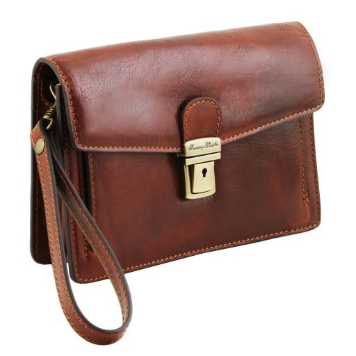 Tommy Vegetable Tanned Leather Men Clutchs Organizers Wrist Bag_3