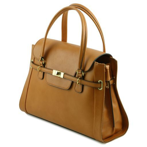 NeoClassic Full Grain Leather Satchel with twist lock_5