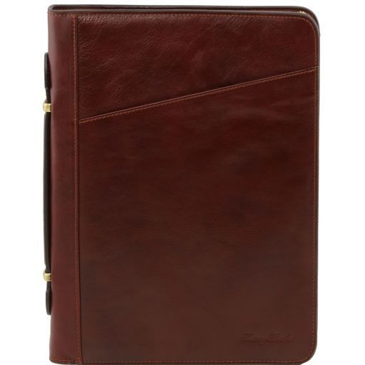 Claudio Vegetable Tanned Leather  Document Case with Handle_1