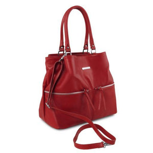 TL Soft Leather shoulder bag with front pockets_2