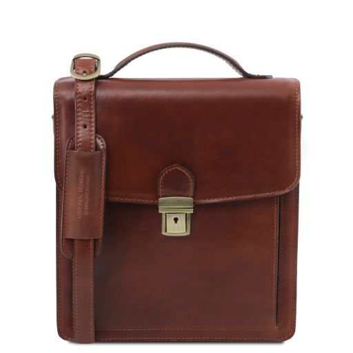 David Vegetable Tanned Leather Messenger Bag for Men - Small size_7