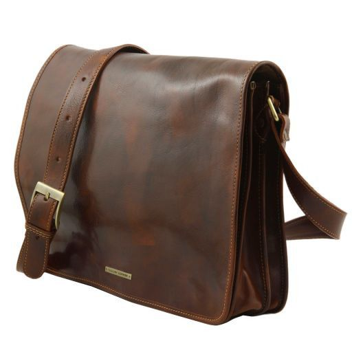 Vegetable Tanned Leather Messenger Bag_2