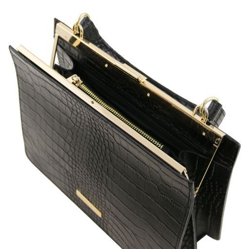 Iris Croc-Embossed Top Handle Bag_4