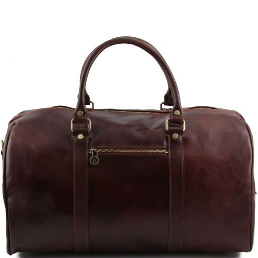 TL Voyager - Travel leather duffle bag with pocket on the backside - Large size_8