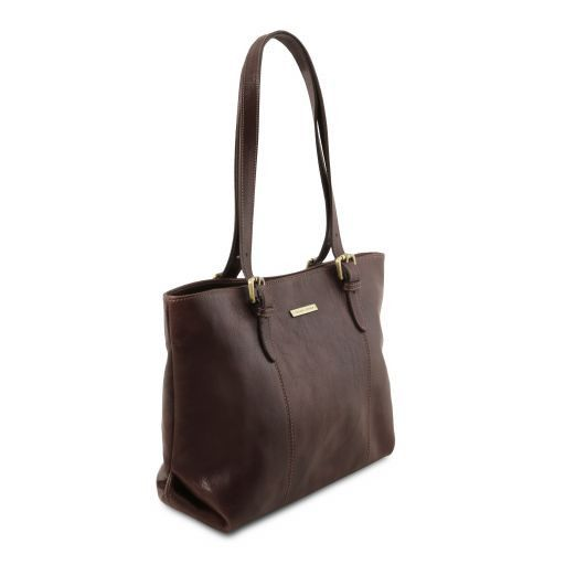 Annalisa Vegetable Tanned Leather Shopping Tote Bag_17
