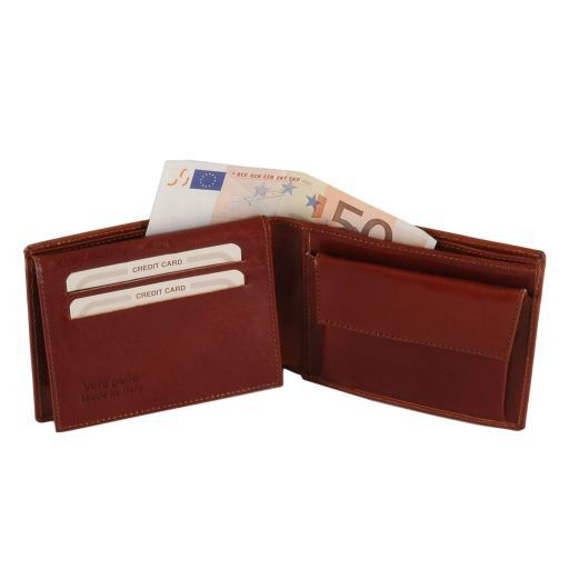Full Grain Leather Trifold  Wallet With Coin Pocket_3