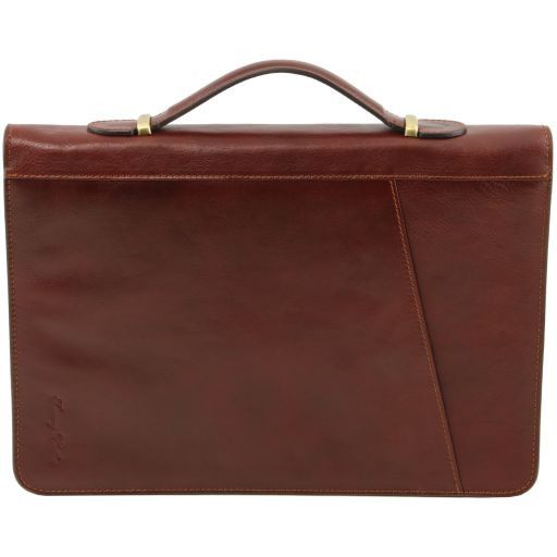 Claudio Vegetable Tanned Leather  Document Case with Handle_4