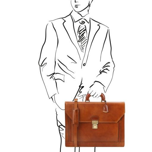 Roma Vegetable Tanned Leather Briefcase_16