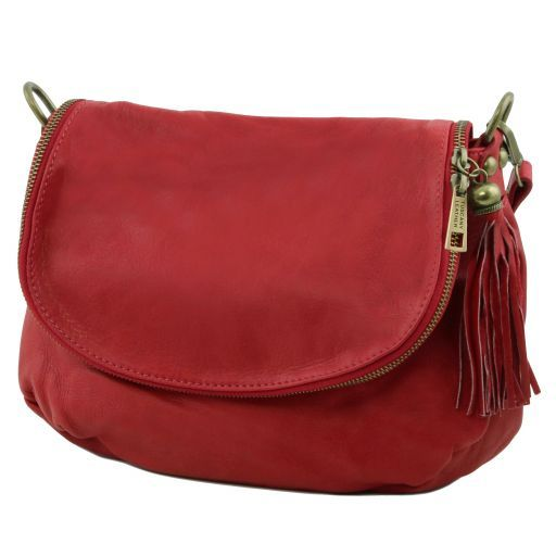 TL Soft Leather Shoulder Bag with Tassel_2