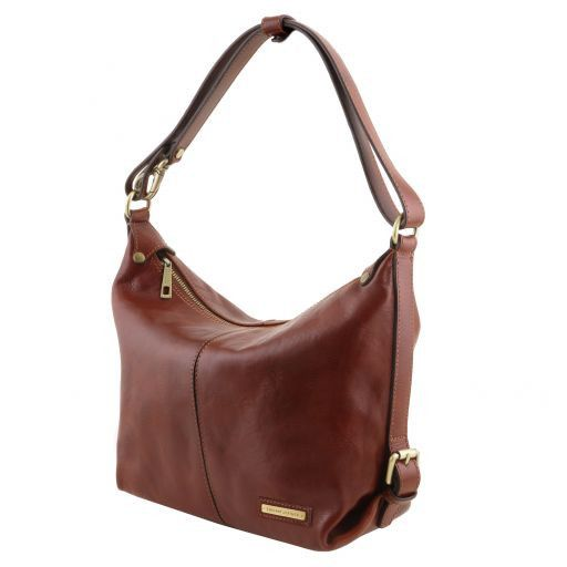 Sabrina Vegetable Tanned Leather Hobo Bag_3