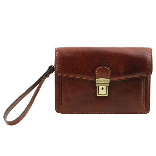 Tommy Vegetable Tanned Leather Men Clutchs Organizers Wrist Bag_4