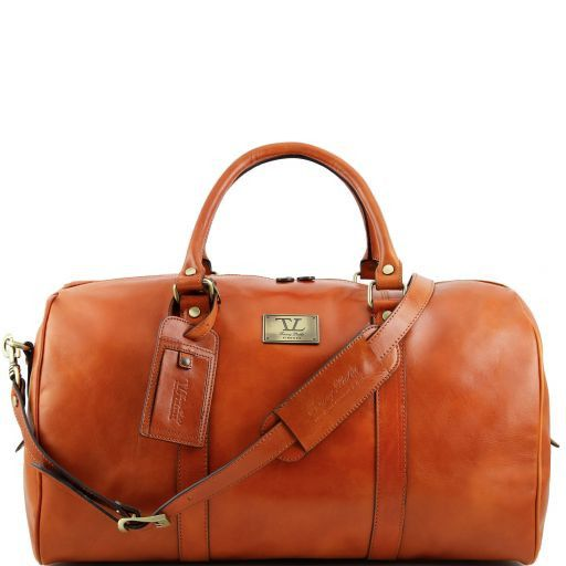 TL Voyager - Travel leather duffle bag with pocket on the backside - Large size_11