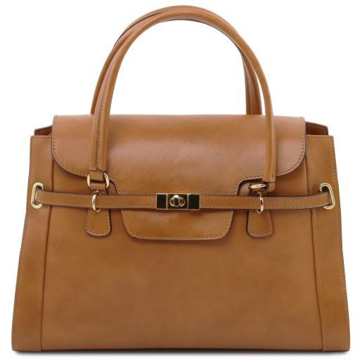 NeoClassic Full Grain Leather Satchel with twist lock_1