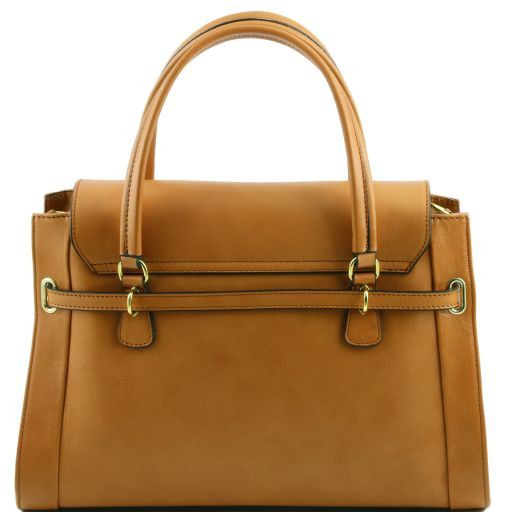 NeoClassic Full Grain Leather Satchel with twist lock_4