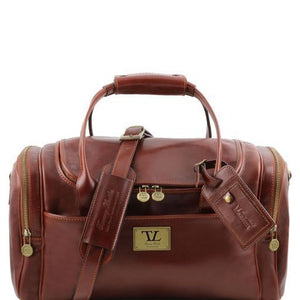 TL Voyager - Travel leather bag with side pockets - Small size_1