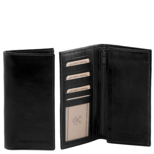 Full Grain Leather Vertical Bifold Wallet For Men_1
