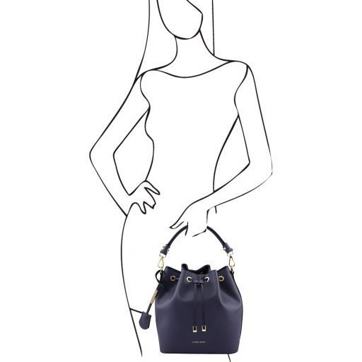 Vittoria Smooth Leather Bucket Bag_12