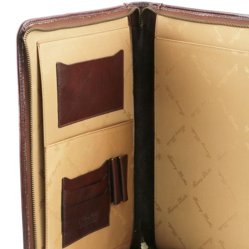 Luigi XIV Vegetable Tanned Leather Leather Document Case with zip closure_3
