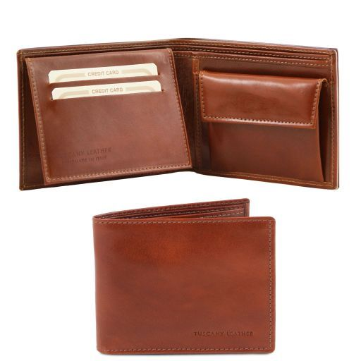 Full Grain Leather Trifold  Wallet With Coin Pocket_6