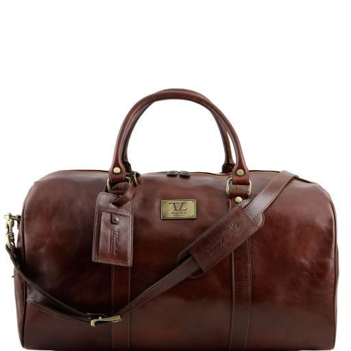 TL Voyager - Travel leather duffle bag with pocket on the backside - Large size_1