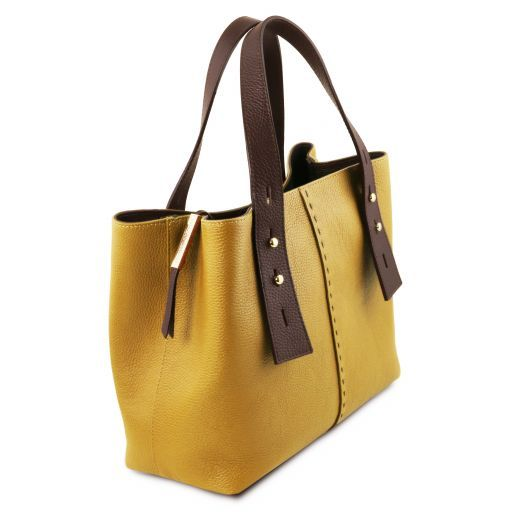 TL Hammered Leather Shopping Tote_3