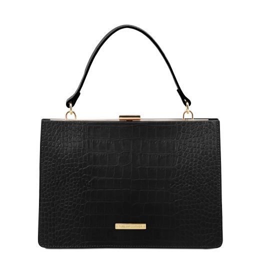 Iris Croc-Embossed Top Handle Bag_1