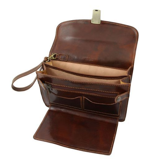 Max Vegetable Tanned Leather Men Clutchs Organizers Wrist Bag_5